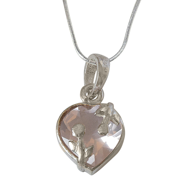 Heart Shaped Faceted Rose Quartz and 925 Sterling Silver Pendant with Silver Finished Chain (SDP523)