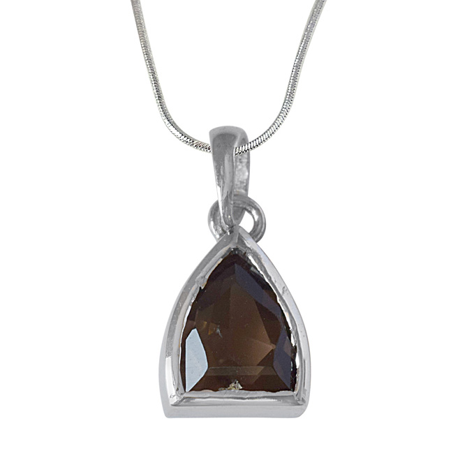 Pointed Dome Shaped Smokey Topaz and 925 Sterling Silver Pendant with 18 IN Chain