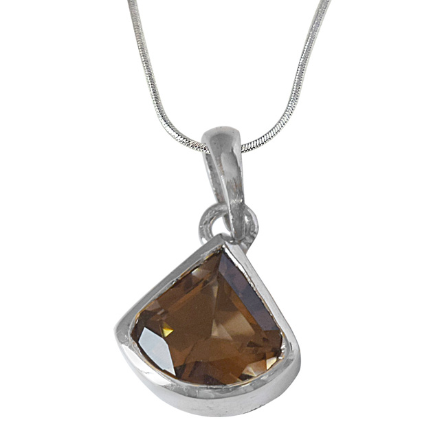Roundish Triangle Shaped Smokey Topaz and 925 Sterling Silver Pendant with Silver Finished Chain (SDP525)