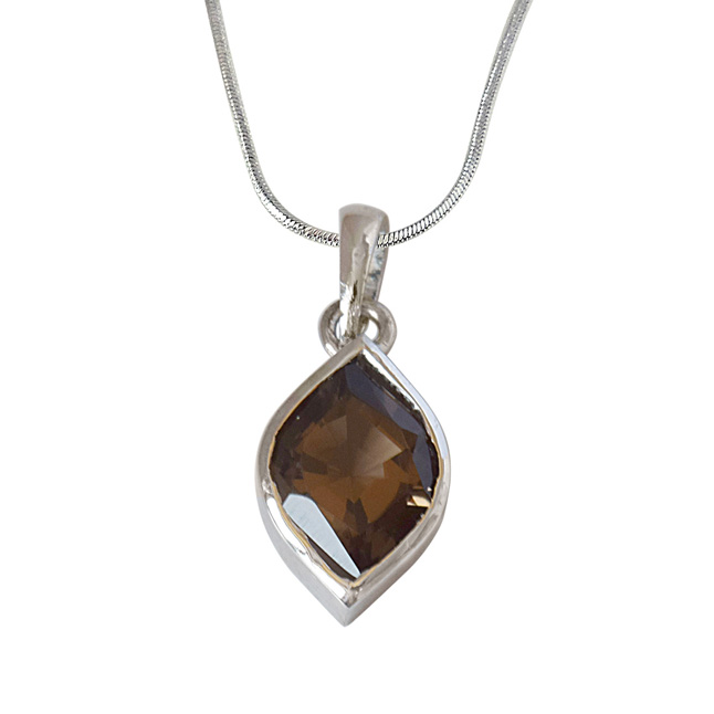 Marquise Shaped Smokey Topaz and 925 Sterling Silver Pendant with Silver Finished Chain (SDP526)