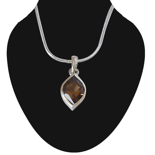 Marquise Shaped Smokey Topaz and 925 Sterling Silver Pendant with 18 IN Chain