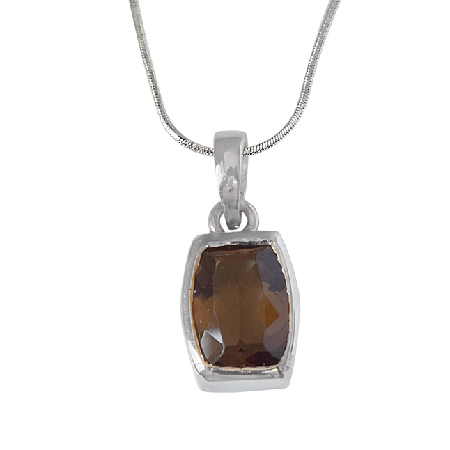 Ovalish Rectangle Shaped Smokey Topaz and 925 Sterling Silver Pendant with Silver Finished Chain (SDP527)