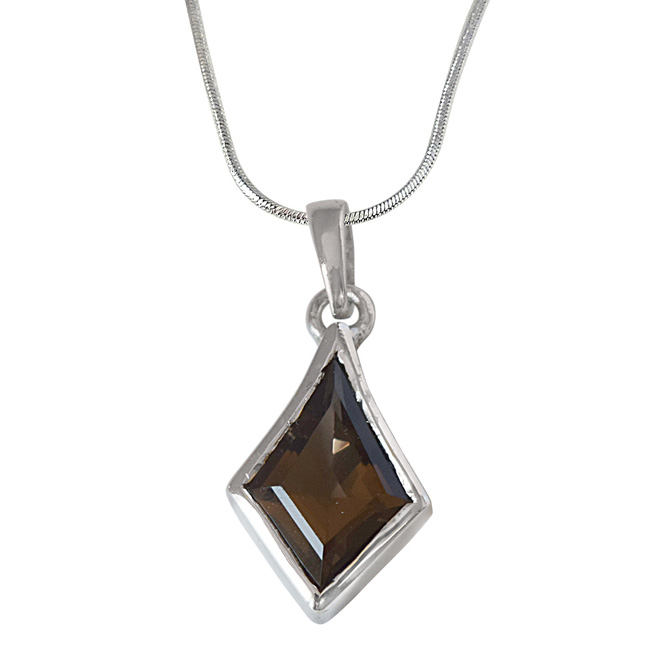 Kite Shaped Smokey Topaz and 925 Sterling Silver Pendant with Silver Finished Chain (SDP528)