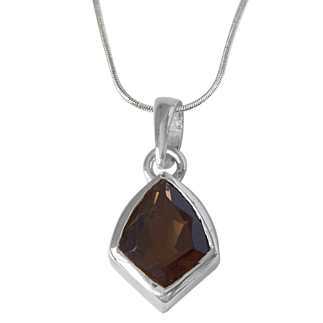 Kite Shaped Smokey Topaz and 925 Sterling Silver Pendant with Silver Finished Chain (SDP530)