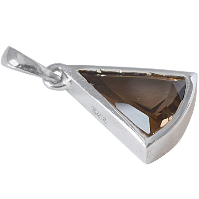 Triangle Shaped Smokey Topaz and 925 Sterling Silver Pendant with 18 IN Chain