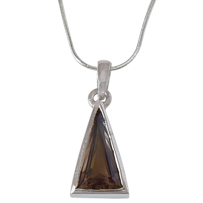 Long Triangle Shaped Smokey Topaz and 925 Sterling Silver Pendant with Silver Finished Chain (SDP532)