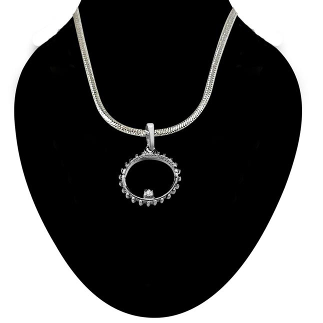 Twisty Real Diamond & Sterling Silver Pendant with 18 IN Chain