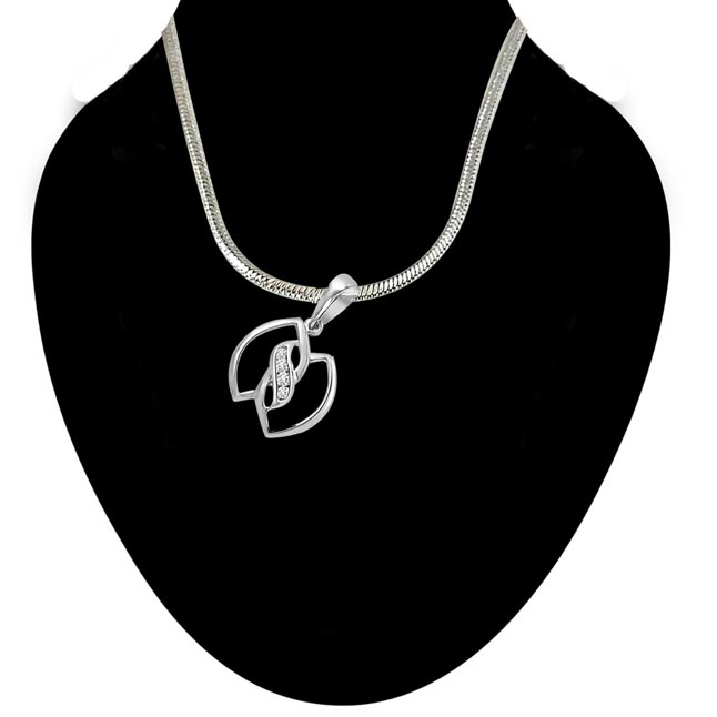 Leaves of Togetherness - Real Diamond & Sterling Silver Pendant with 18 IN Chain