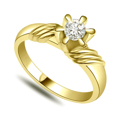 0.20cts K-L / I1 Big Solitaire Diamond 6 Prong Ring in 18K Gold