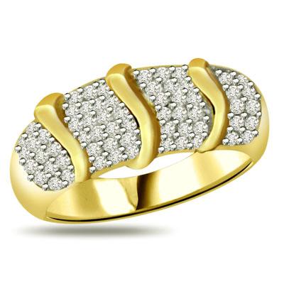 Trendy Diamond Gold Ring  SDR888