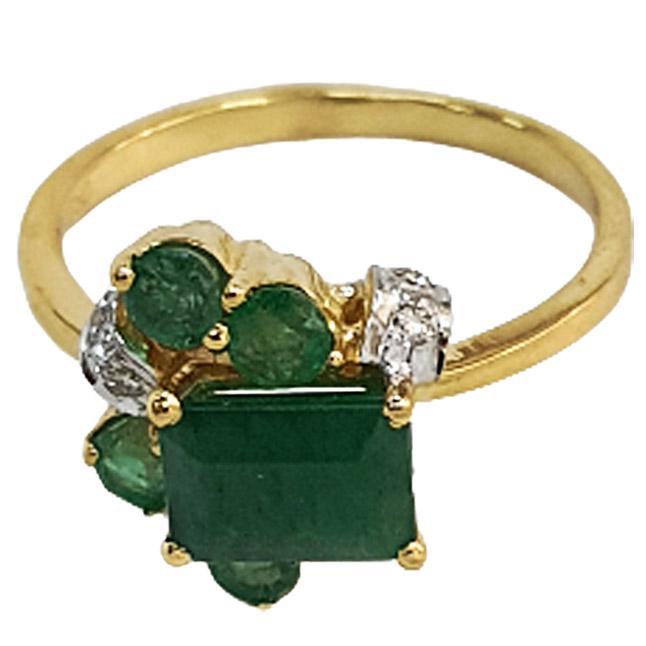 1.24 cts Diamond & Emerald rings -Diamond & Emerald