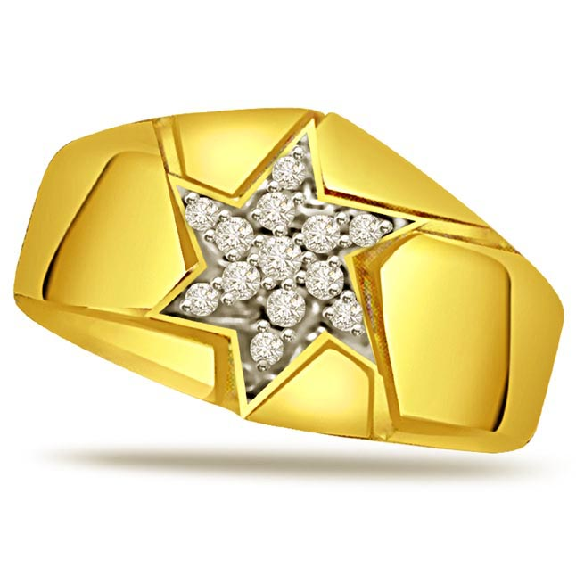 Diamond 18k Gold Men's Ring
