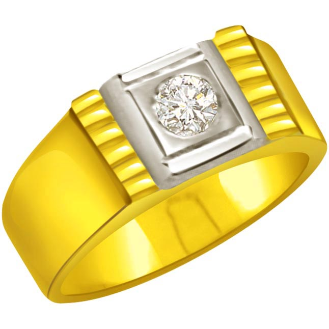 0.15 cts Diamond Solitaire Men's Ring - Two Tone Solitaire