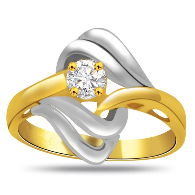 Two-Tone Diamond Solitaire Ring SDR790 - Solitaire Two Tone