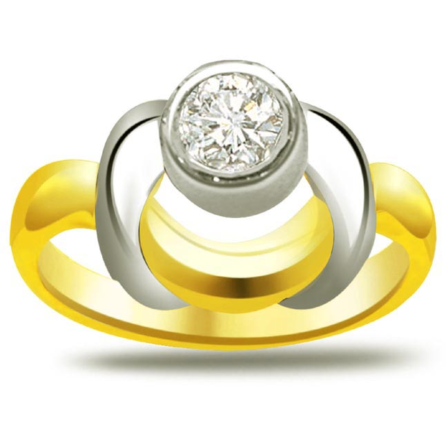 Two-Tone Diamond Solitaire Ring SDR791 - Solitaire Two Tone