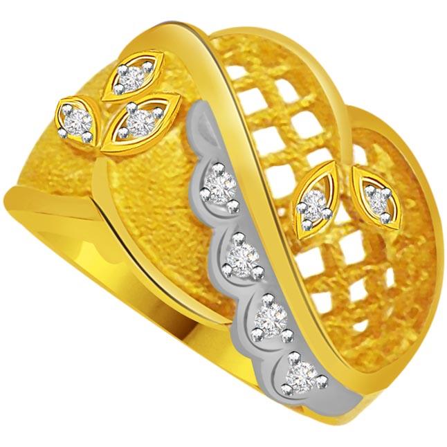 Two-Tone Diamond Gold Ring SDR795 - White Yellow Gold Ring
