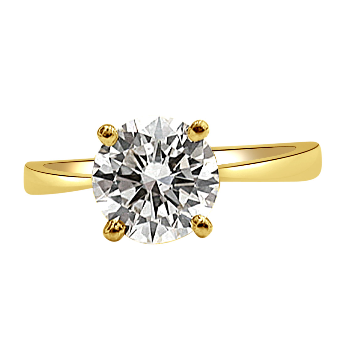 0.11cts J-K / SI2 Solitaire Diamond  4 Prong Ring in 18K Gold