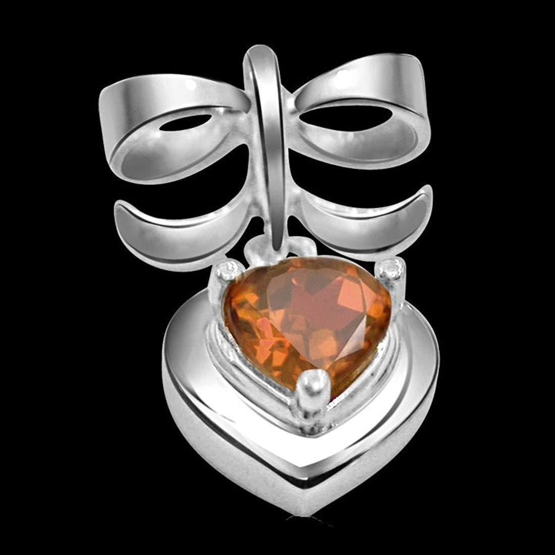 Heart Shaped Golden Topaz & Sterling Silver Bow Pendant for Women (SDS105)