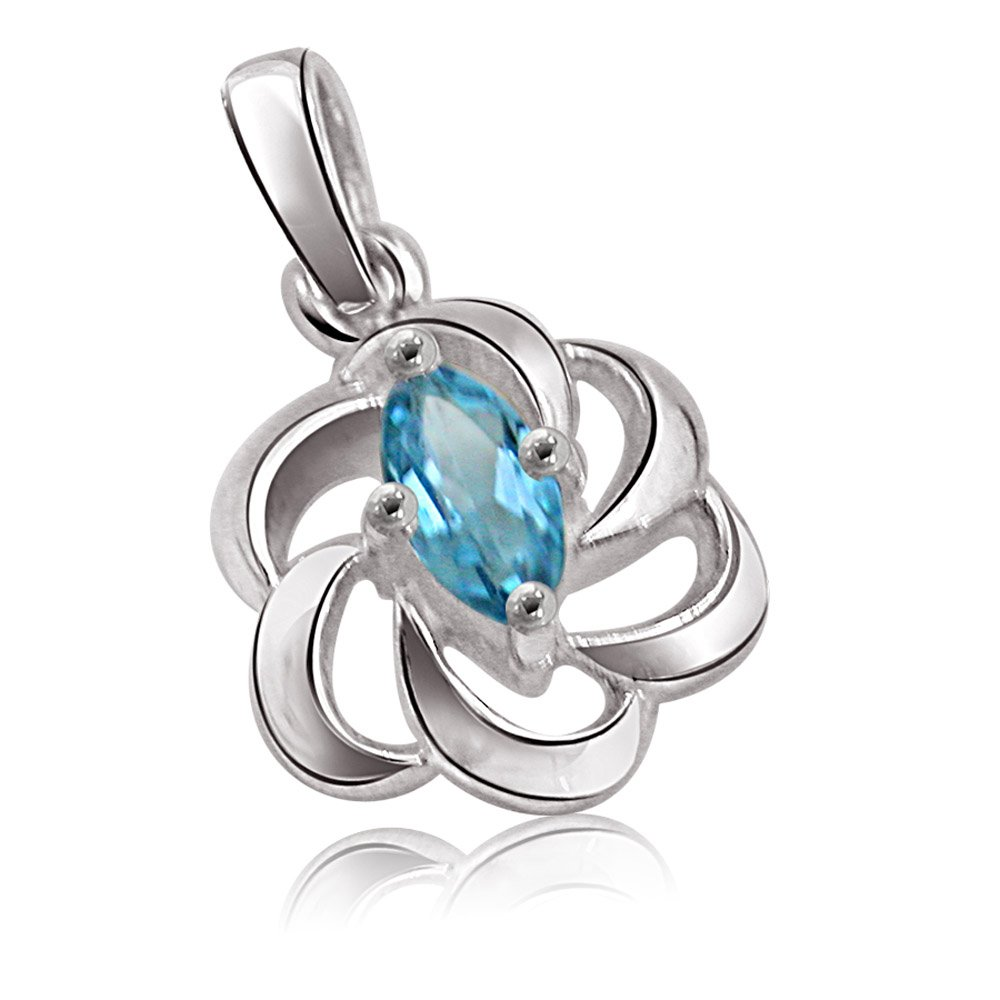 Marquise Shaped Blue Topaz & Sterling Silver Pendant for Girls (SDS111)