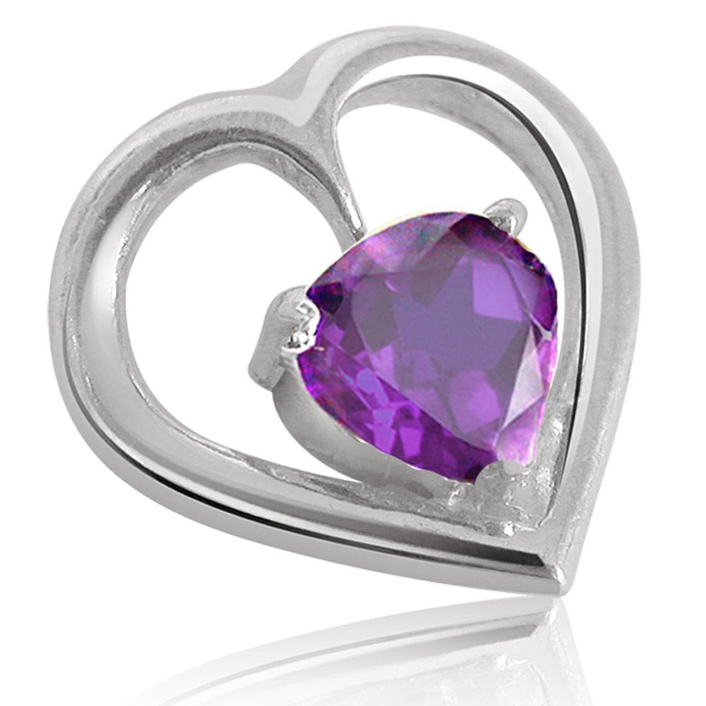 Heart Shape Purple Amethyst Pendant & Earring Set with Silver finished Chain for Women (SDS117)