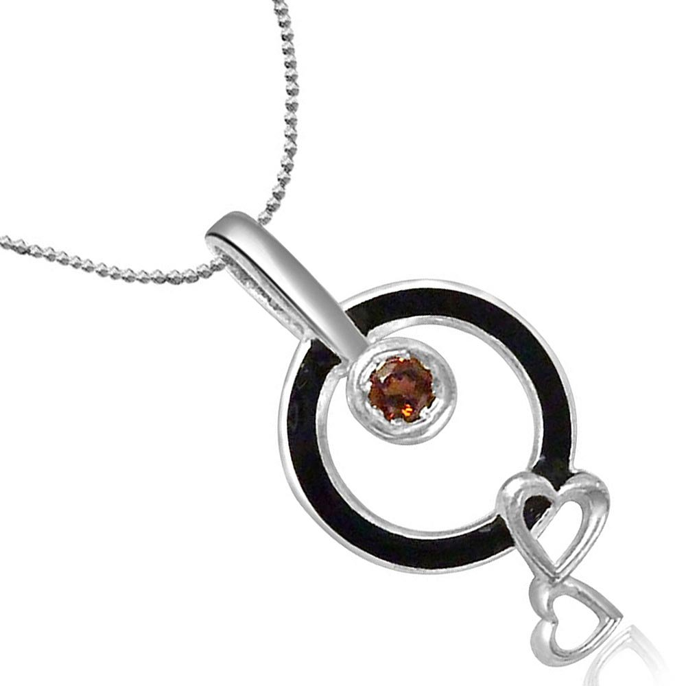 Red Garnet & Sterling Silver Heart Pendant with Silver Finished Chain for Girls (SDS135)
