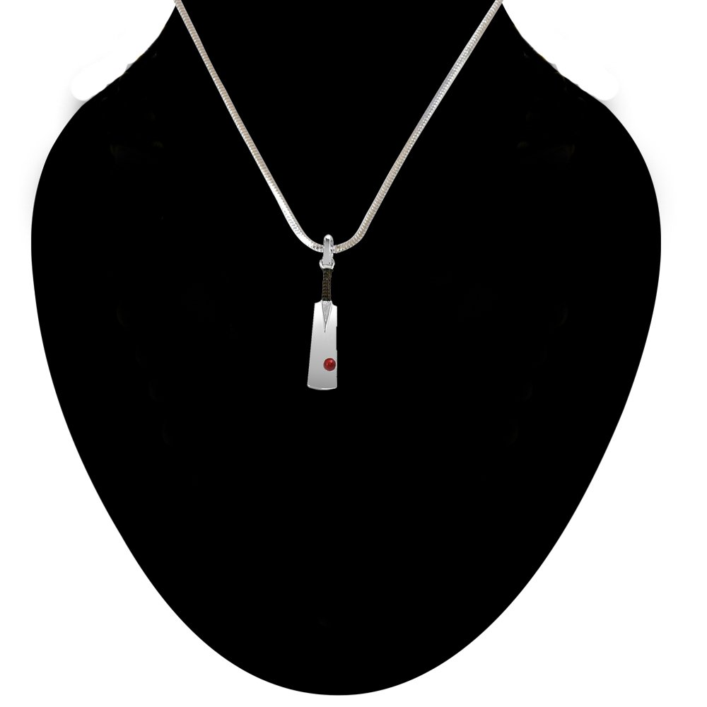 Silver Cricket Ball & Bat Pendant with Silver Finished 18 IN Chain for Men (SDS137)