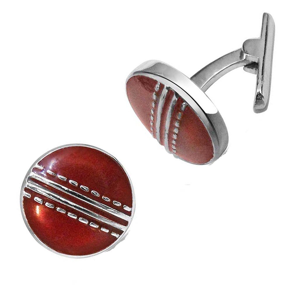 Season Cricket Ball Cufflinks with Red Enamel set in Sterling Silver for Men (SDS141)