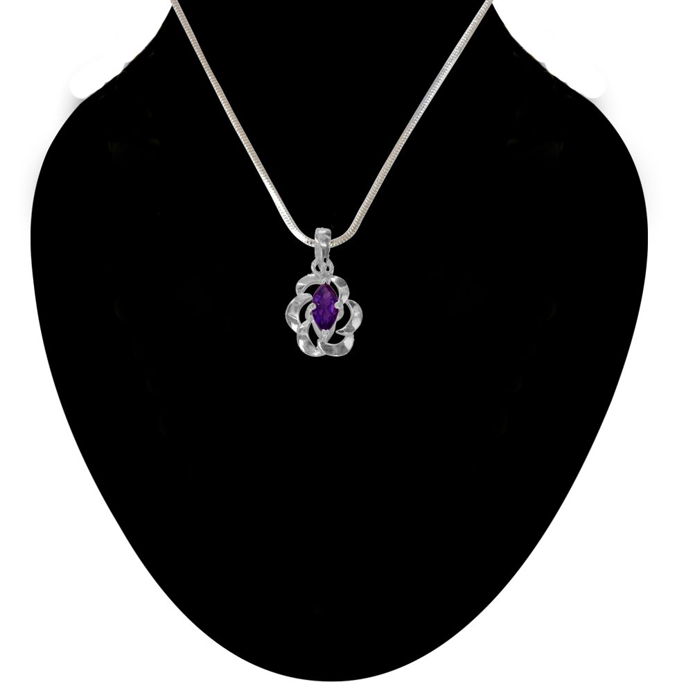 Marquise Shape Purple Amethsyt & Sterling Silver Pendant with Silver Finished Chain for Girls (SDS148)