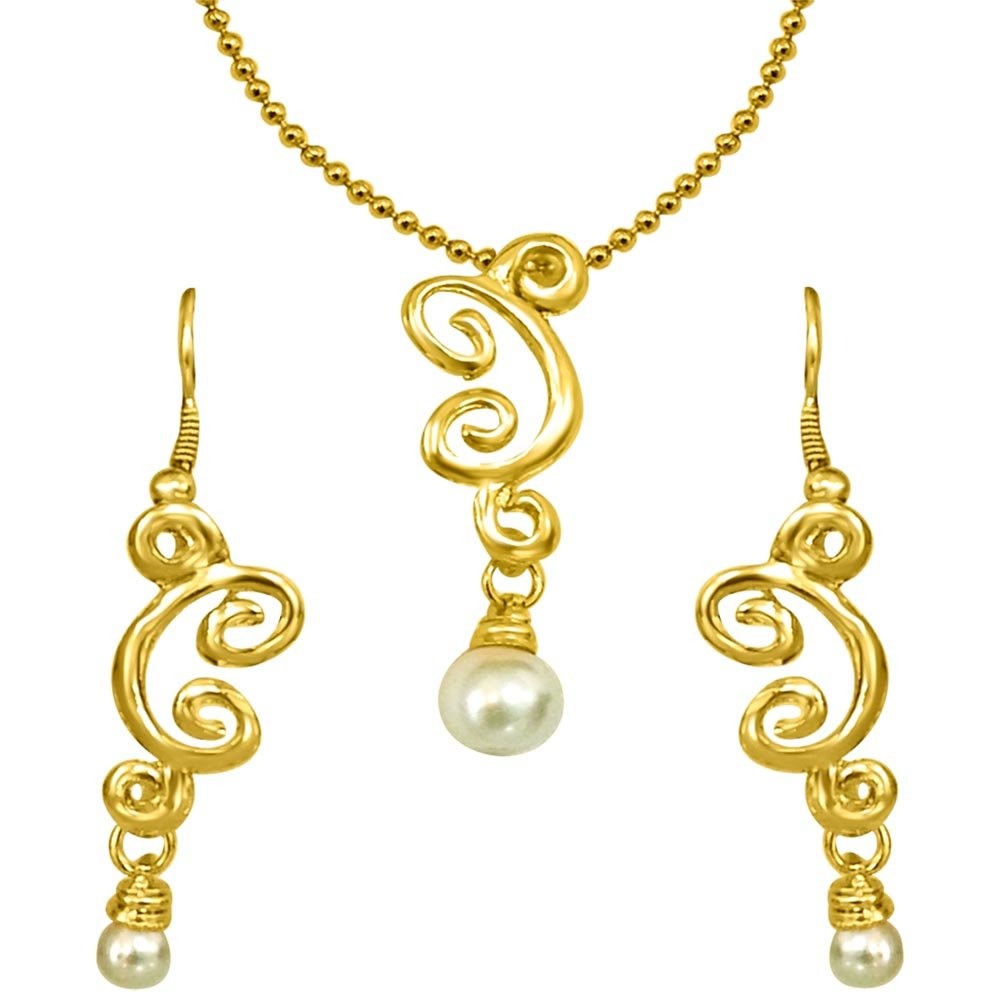 Trendy White Shell Pearl & Gold Plated Pendant with Chain & Earring Set for Women (SDS150)
