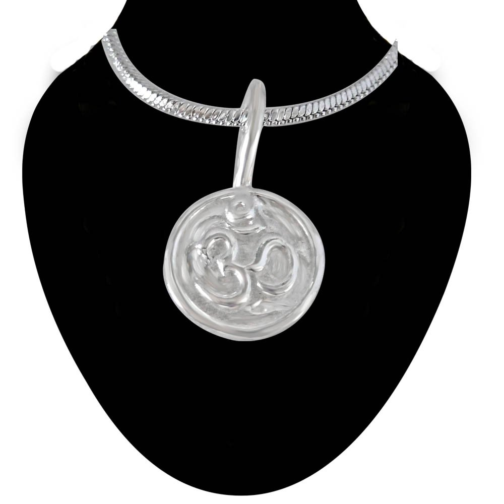 OM Pendant in Sterling Silver with Silver Finished Chain for Children (SDS200)