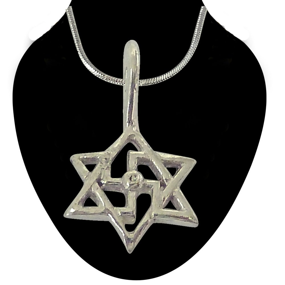 Swastik Pendant in Sterling Silver with Silver Finished Chain for Children (SDS202)