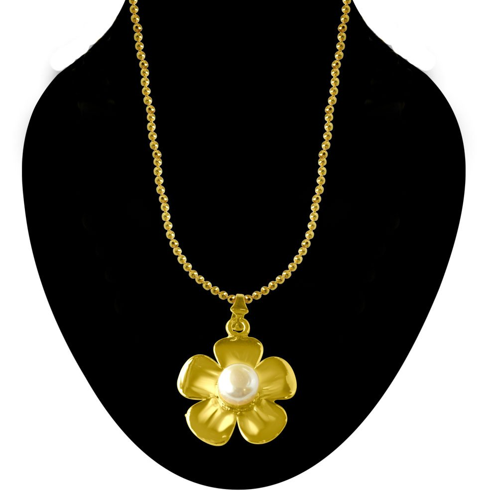 Big White Button Pearl & Gold Plated Floral Pendant with Chain & Matching Studs for Women (SDS215)