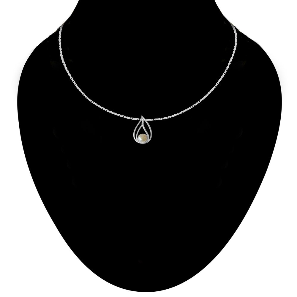 Pearl Drop Sterling Silver Pendant with 18 IN Chain for Women (SDS232)