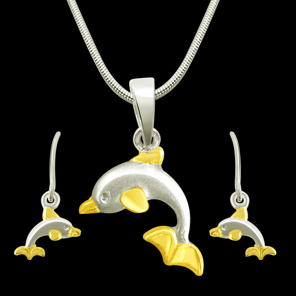 Dual Plated Dolphin Shape Sterling Silver Pendant & Earring Set with Silver Finished Chain for Girls (SDS23+SDS24)