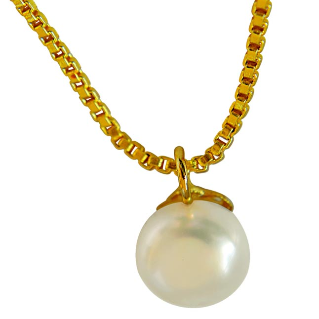 4.00 ct Round Button Natural Freshwater White Pearl 9mm Solitaire Pendant with Gold Plated Chain (SDS258)