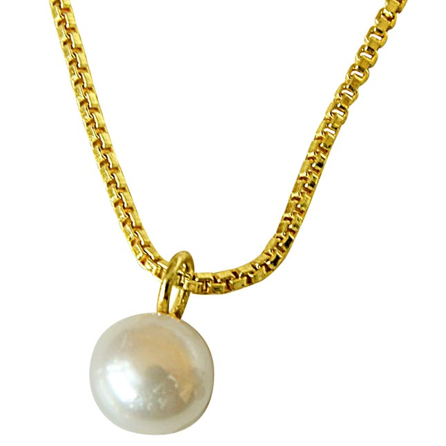 2.00ct Round Button Natural Freshwater White Pearl 8mm Solitaire Pendant with Gold Plated Chain