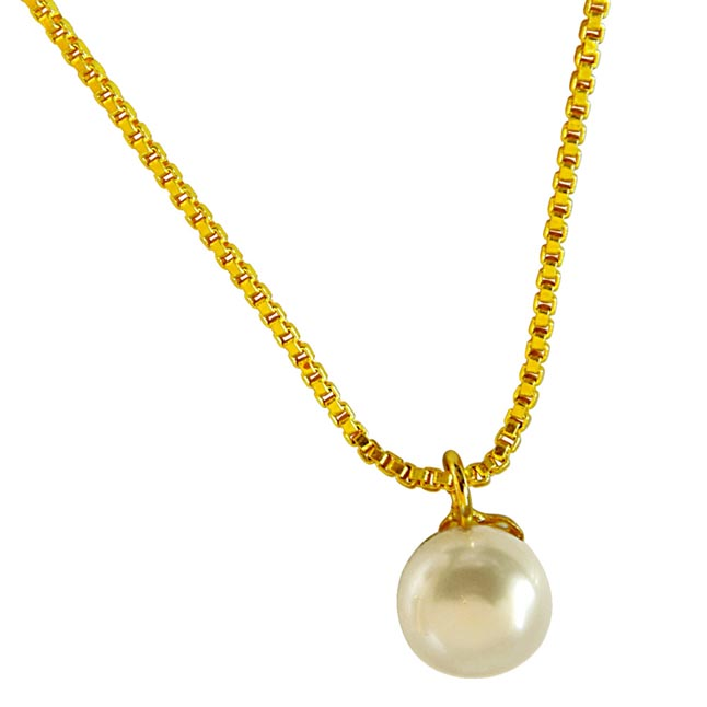 4.00ct Round Button Natural Freshwater White Pearl 10 mm Solitaire Pendant with Gold Plated Chain (SDS260)