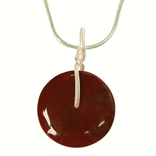 Fine 1.80 cm Brown Jasper Disc & Silver Pendant with 18 IN Chain