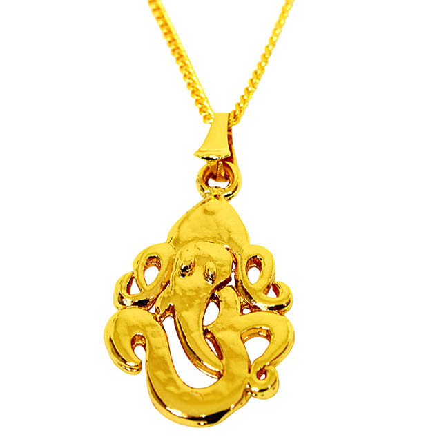 Ganpati Bappa Gold Plated Religious Pendant with Chain SDS268