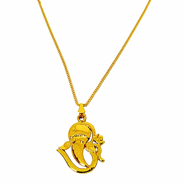 Om Ganeshaya Namah Gold Plated Religious Pendant with Chain SDS269