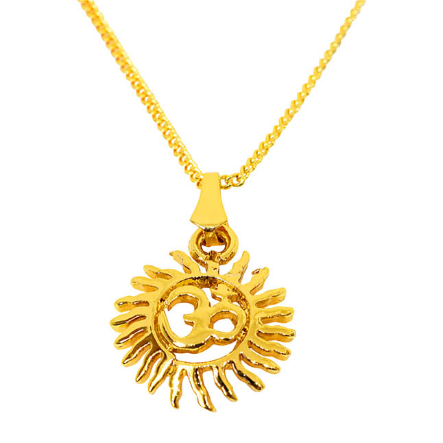 Sun Filled Rays Om Gold Plated Religious Pendant with Chain SDS270