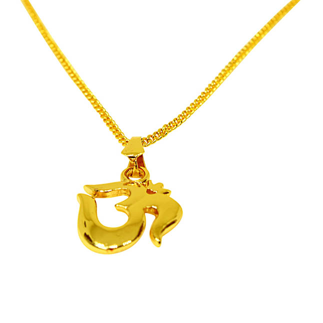 Om Religious Gold Plated Pendant with Chain SDS271