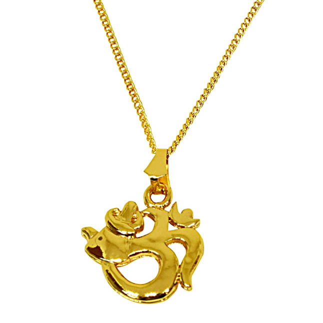 Peaceful Om Gold Plated Religious Pendant with Chain SDS272