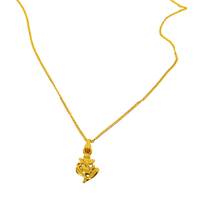 Ganapati Religious Gold Plated Pendant with Chain SDS273