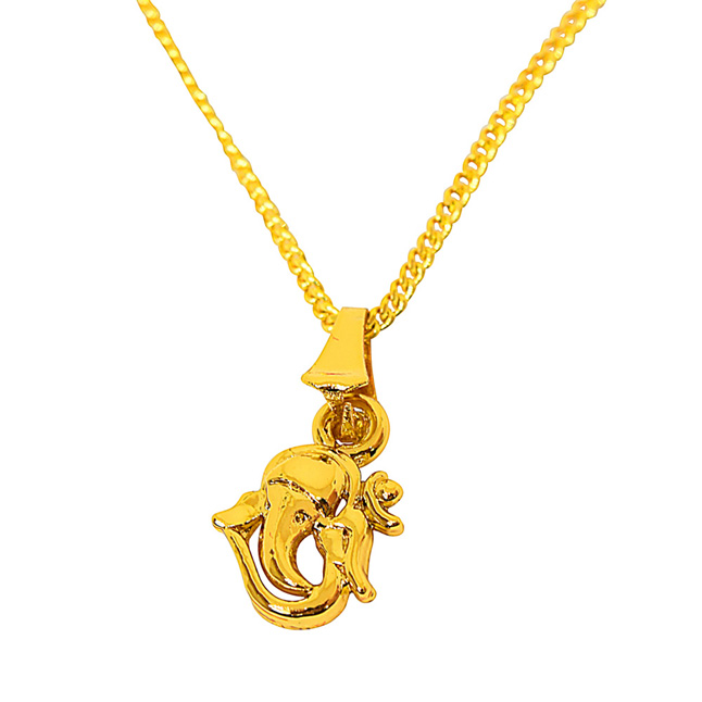 Mini Ganpati Gold Plated Religious Pendant with Chain SDS274