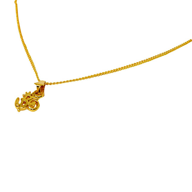 Mini OM Gold Plated Religious Pendant with Chain SDS275