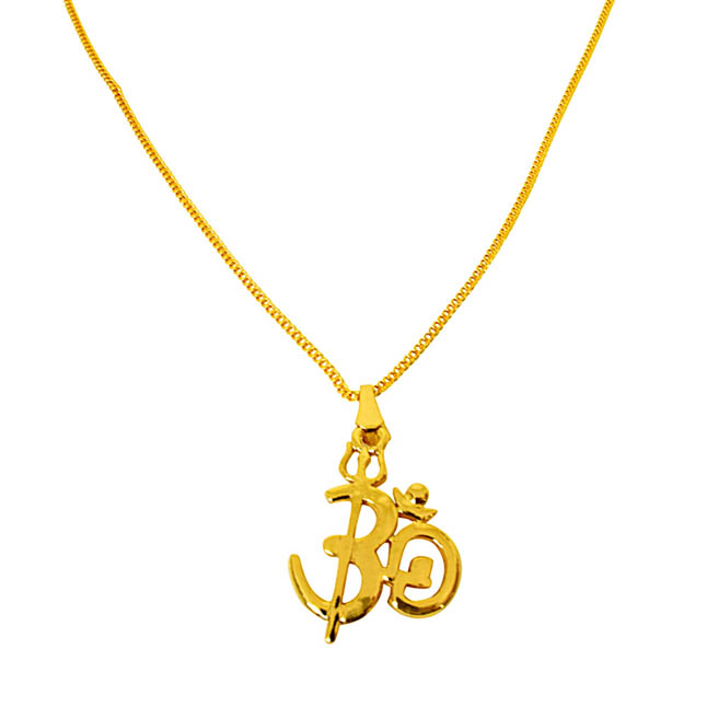 OM Shivaya Trishul Gold Plated Religious Pendant with Chain SDS276
