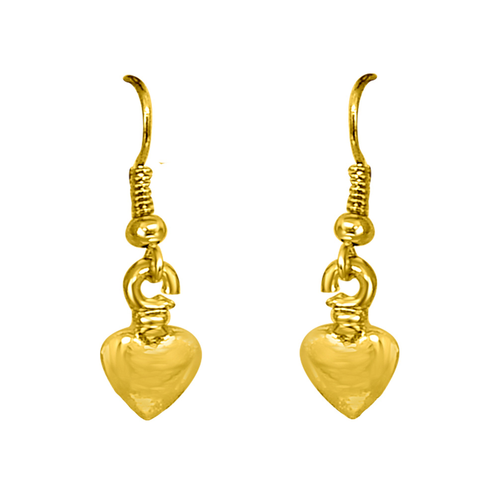 Heart Shaped Gold Plated Wire Hanging Earrings for Girls SDS292