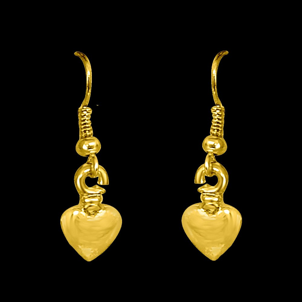 Heart Shaped Gold Plated Wire Hanging Earrings for Girls (SDS292)