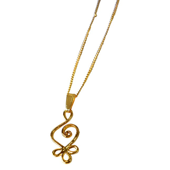 Hanging Curves - Gold Plated Pendant for Everyday wear for Women (SDS316)
